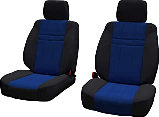 Front Seats: ShearComfort Custom Neoprene-Style Seat Covers for Ford Escape (2013-2019) in Black w/Blue for Buckets w/Adjustable Headrests (All Models Except Titanium)