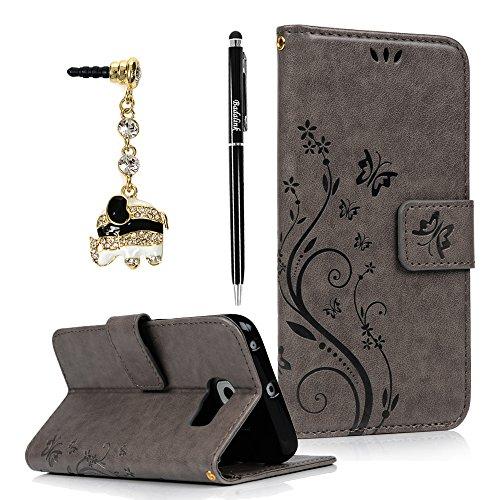 BADALink Hülle für SamsungGalaxy S6 Edge Schutzhülle Flip PU Ledertasche Hülle Magnetverschluss Blumen Schmetterling Cover Handyhülle Schale