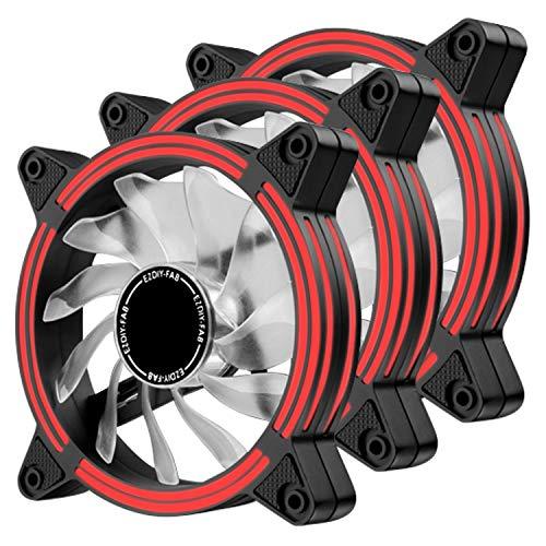 EZDIY-FAB Ventilador LED de 120 mm,Ventilador de Caja de Doble Marco LED para Cajas de PC,silencioso de Alto Flujo de Aire,enfriadores de CPU y radiadores,Rojo 3-Pin-3-Pack