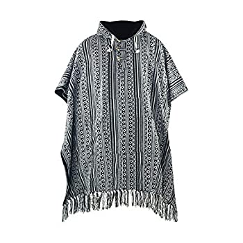 virblatt - Mexican Poncho | 100% Cotton | Blanket Poncho Men Hippie Sweater Baja Hoodie Drug Rug Hooded Wool Poncho - Arriba Black