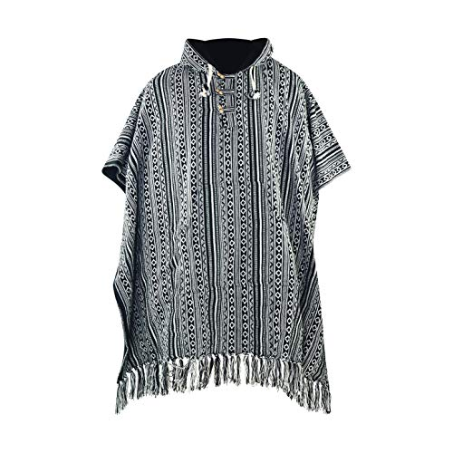 virblatt - Poncho Herren Baja Hoodie goa Jacke Jerga Ethno Pullover Alternative Kleidung Hippie Look - Arriba