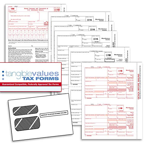 1099 NEC Tax Forms 2020 - Tangible Values 5-Part Kit with Envelopes, 20 Pack