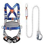 shxn kit di imbracature lavoro aereo,imbragatura di sicurezza protezione anticaduta con tampone for l'arrampicata elettricista edilizia esterno fibbia grande 1.2 m,double rope hsgav