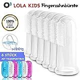 O³ Fingerzahnbürste Baby // 6 Stück mit Transportboxen // Aus BPA-freiem Silikon // Finger Toothbrush // Zahnpflege