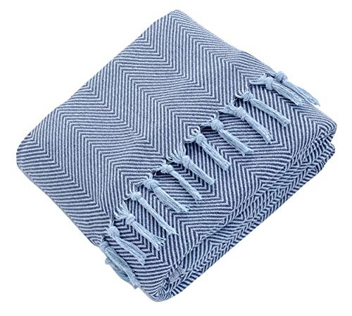 Mixibaby Tagesdecke Wohndecke Wendedecke Kuscheldeck Sofadecke Couchdecke, Farbe:Blau, Design:Fischgrätendesign