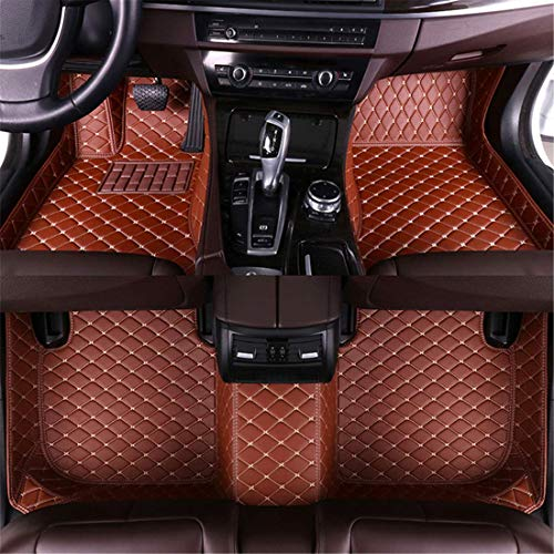 Muchkey car Floor Mats fit for Chevrolet Silverado High Country 2014-2017 Full Coverage All Weather Protection Non-Slip Leather Floor Liners Brown