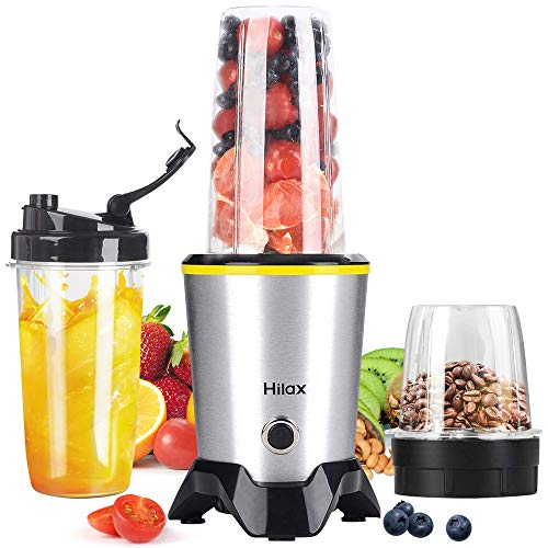 Blender, Portable Personal Smoothie Blender, 1000W High Speed Shake Blender Maker Coffee Grinder with 2-Set Blades for Fruits Baby Food Vegetables Beans, Two Tritan BPA-Free Blender Bottle(35+14oz)