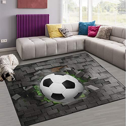 Naanle Fußball, rutschfester Teppich für Wohnzimmer, Esszimmer, Schlafzimmer, Küche, 100 x 150 cm, Sport-Kinderzimmer-Teppich, Yogamatte