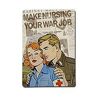愛はあなたの戦争の仕事を看護する-ブリキのサインヴィンテージノベルティ面白い鉄の絵の金属板