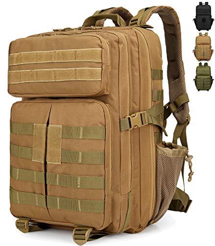 Doshwin Taktischer Rucksack Tactical Survival Militärrucksack Army Molle US Assault Pack für Herren Damen / 40L (Khaki)