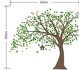 AIYANG Gigante Marrón Oscuro Tree Pegatinas de Pared árbol con Hojas Verdes y pájaros Birdcage DIY Pared Vinilo Adhesivo para bebé niños niños decoración de la habitación (Dark Brown)