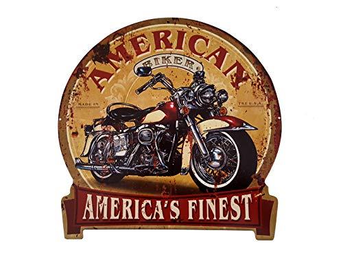 LB H&F Blechschild Retro Motorrad Blech Metallschild Biker Amerika - Rund 30x30cm Gross Blechschilder