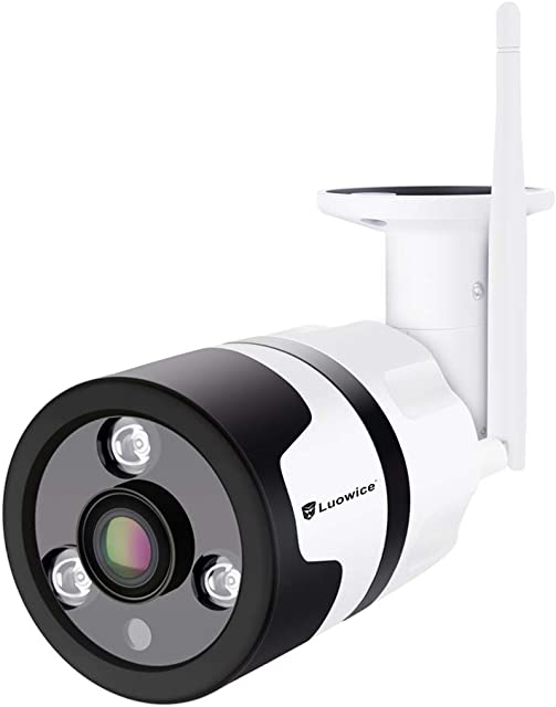 Luowice cámara de vigilancia WiFi para Exteriores 1080p Gran angular HD Cámara de seguridad inalámbrica Impermeable con visión Nocturna detección de Movimiento Compatible con tarjeta Micro SD
