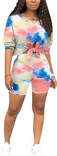 Aro Lora Womens 2 Piece Shorts Set Tie Dye Print Crop Top Pant Suit Cute Romper Outfits