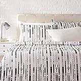 Amazon Basics - Juego de ropa de cama con funda de edredón, de satén, 200 x 200 cm / 50 x 80 cm x 2, Gris a rayas texturizado