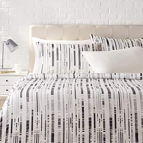 Amazon Basics - Juego de ropa de cama con funda de edredón, de satén, 230 x 220 cm / 50 x 80 cm x 2, Gris a rayas texturizado