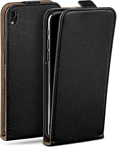 moex Flip Hülle für Sony Xperia M4 Aqua - Hülle klappbar, 360 Grad Klapphülle aus Vegan Leder, Handytasche mit vertikaler Klappe, magnetisch - Schwarz