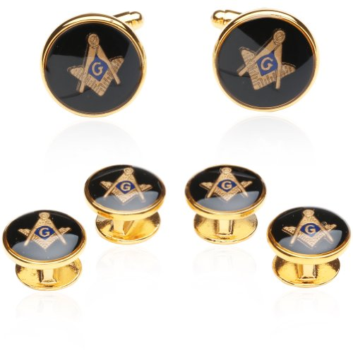 Mens Freemason Masonic Cufflinks Studs (Studs won't spin) Tuxedo Formal Set with Presentation Gift Box