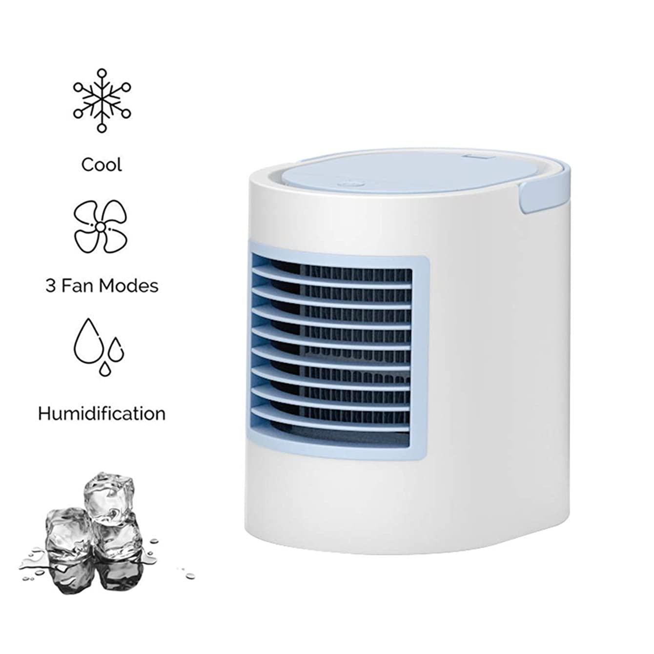 Portable Air Conditioner Fan, Desktop Personal Space Air Cooler 7.5-inch Super Mini Evaporative Air Circulator Humidifier Bladeless Quiet with LED Lights and Handle for Home Room Office (Blue)