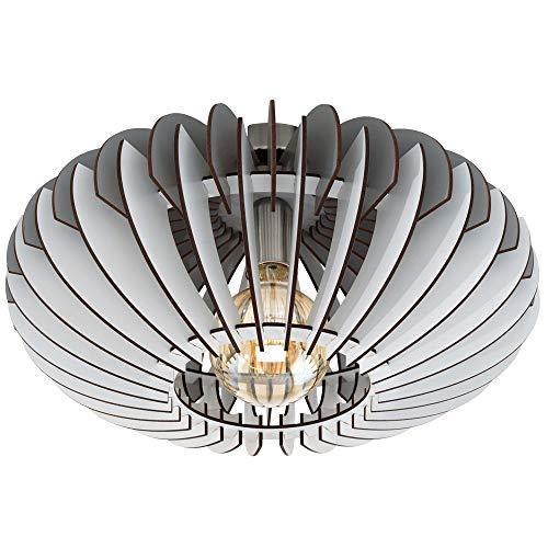 Decken Lampe Lamellen Holz Leuchte Wohn Zimmer Beleuchtung Flur Strahler grau weiß Eglo 32831