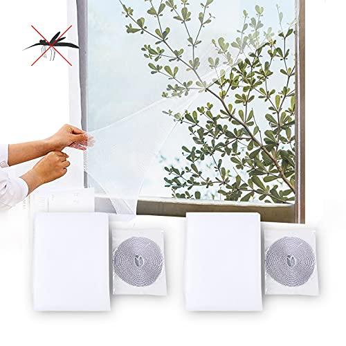 Yisscen 2 piezas Mosquitera Ventana,Con 2 cintas Ventana de Mosquitera de insectos Red anti Mosquitos Se puede cortar Mosquitero de ventana Adecuado para balcones de malla fina de Windows(1.3*1.5 m)