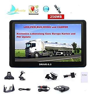 5-Zoll-GPS-Navi-Navigationsgeraet-fuer-LKW-Truck-mit-Brueckenhoehenwarnung-und-TMC-Verkehrsfunkempfaenger-Rastplatzsuche-24-V-ueber-50-Laender-Europa-Neuste-Karten-Fahrspurassistent
