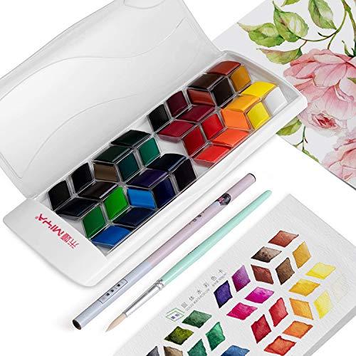 HIMI - Juego de 36 pinturas de acuarela portátil de colores premium con lápiz adicional, pincel para artistas, profesionales, pintores principiantes (blanco)