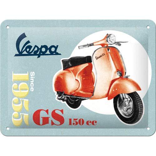Nostalgic-Art Retro Blechschild Vespa – GS 150 Since 1955 – Geschenk-Idee für Roller Fans, aus Metall, Vintage-Design zur Dekoration, 15 x 20 cm