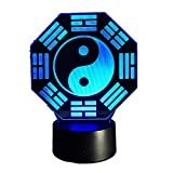 KangYD Luce notturna 3D Figura promettente cinese, LED Yin Yang Tai Chi Lampada, Regalo ragazza, 1 - Tocca Base nera (7 colori)