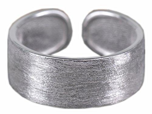 NicoWerk Silberring Bandring Schlicht Matt Ring Silber 925 Verstellbar Damenringe Damen Schmuck SRI194