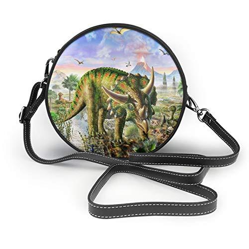 Beautiful Dinosaur World - Bolso bandolera para mujer, diseño redondo