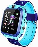Smartwatch per bambini, IP67, impermeabile, GPS anti-perso, smart phone con chat vocale, sveglia SOS, orologio intelligente per studenti per giochi di matematica, regali per ragazzi e ragazze (blu)