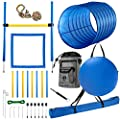 """CHEERING PET Dog Agility Equipment, 28 Piece Obstacle Course Plus Dog Treat Bag Includes 58.5"""" Long Dog Agility Tunnel, Adjustable Hurdles, Poles, Whistle, Rope Toy, Outdoor Play Equipment with Case"""