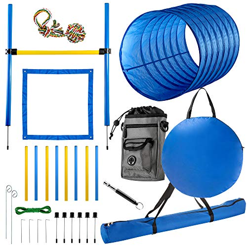 "CHEERING PET Dog Agility Equipment, 28 Piece Obstacle Course Plus Dog Treat Bag Includes 58.5"" Long Dog Agility Tunnel, Adjustable Hurdles, Poles, Whistle, Rope Toy, Outdoor Play Equipment with Case"