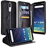 for Coolpad Illumina 3310A/ Legacy GO (Boost, Virgin Mobile) PU Leather Credit Card Slot Holder Flip Folio Kickstand Wallet Pouch + Wrist Strap [Free Emoji Keychain!] (Fold Black)