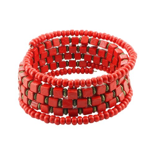 Chic-Net Holzarmreif rot Gold rund eckig Armreif Holzarmband Armband Holz Spirale auf Draht Damen Holzperlen