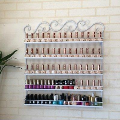 Befied 100 Flasche Nagellack Regal für die Wand Aufbewahrung Dekokiste Wandregal Metall 5/6 Fächer weiß/schwarz (5 Fächer, weiß)