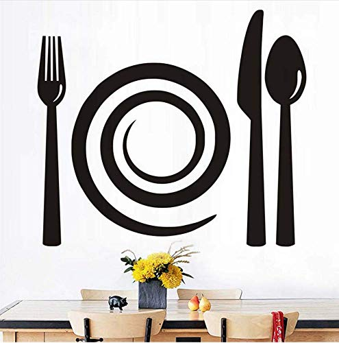 Gabel Messer Löffel Wandtattoos Abnehmbare Pvc Wandkunst Wand Küche Bäckerei Schaufenster Vitrine Wandaufkleber Steuern Dekor 44X38 Cm