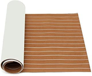 DB Decorative Materials, Brown and White EVA Foam Faux Teak Sheet Boat Yacht Synthetic Teak Decking 900mmx2400mmx5.5mm Light