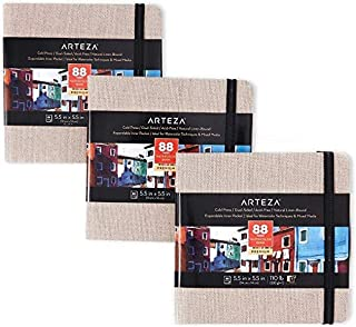 Arteza Watercolor Sketchbooks, 5.5x5.5-inch, 3-Pack, 132 Sheets, Gray Art Journal, Hardcover 110lb Paper Book, Art Supplie...