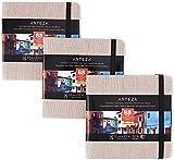 ARTEZA Blocs de acuarela | 14x14 cm | Paquete de 3 | 88 páginas | Tapa dura color gris | Papel de 230 g/m² | Libreta de dibujo de acuarela ideal como diario de viaje y bloc para medios mixtos