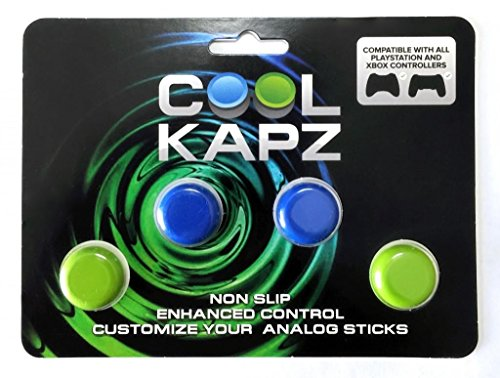 CoolKapz Non-Slip Gaming Controller Joystick and D-Pad Cover, Blue and Green