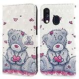 Ailisi Cover Samsung Galaxy A20e, 3D Flip Cover Cartoon cute love heart Teddy Bear Custodia Protettiva Caso Libro Pelle PU con Portafoglio, Funzione Supporto, Chiusura Magnetica