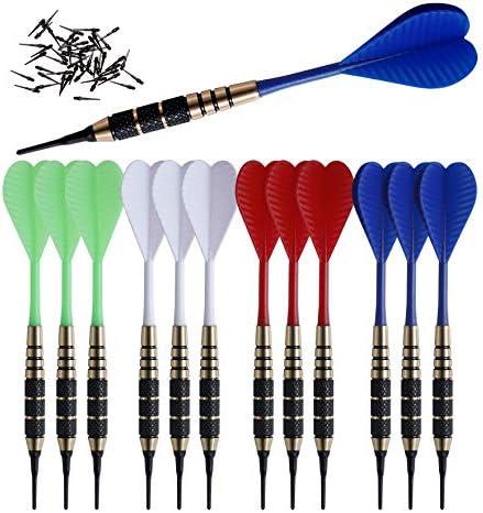 SHOT TAKER CO EST 2017 Soft Tip Darts Set 12 pc Bar Darts 50 Extra Black 2BA Tips 3 of Each product image