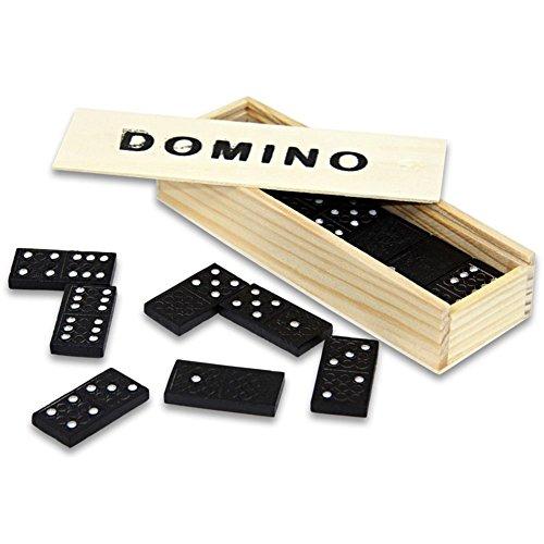 CAGO Domino Dominosteine in Holzbox Holz 14,5 x 5 x 3 cm schwarz/Natur