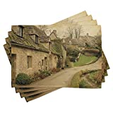 Ambesonne European Place Mats Set of 4, British Town with Stone Houses Retro England Countryside Buildings Image Print, Washable Fabric Placemats for Dining Room Kitchen Table Decor, Grey Green