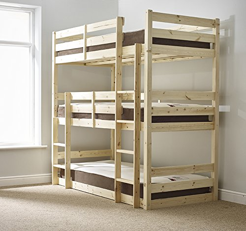 Strictly Beds and Bunks - Pandora Triple Sleeper with Side Ladder, 3ft Single