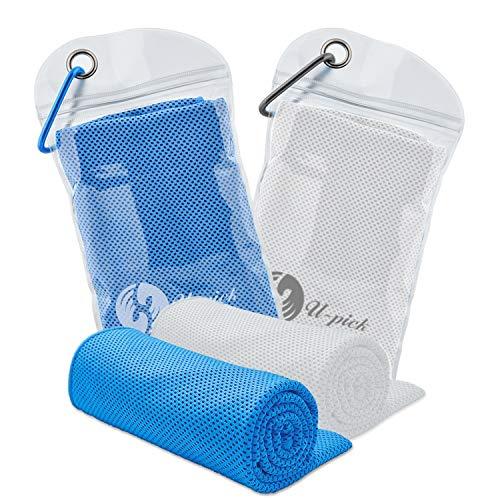 Kühlendes Handtuch, 2 Stück Mikrofaser Handtuch, Eiskalte Handtuch Sofortige Wärmeentlastung, Fitness Handtuch für Fitness, Yoga, Wandern, Radfahren, Camping, Reisen, Blau&Weiß
