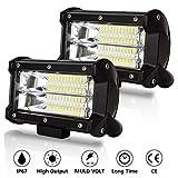 Hengda 2 x 72W LED lumière de travail, 12V 24V lumière auxiliaire 9200LM Phare LED Feux Additionnels Tracteur projecteur 6500K IP67 étanche, pour Off-road, SUV, ATV, Camion, Moto