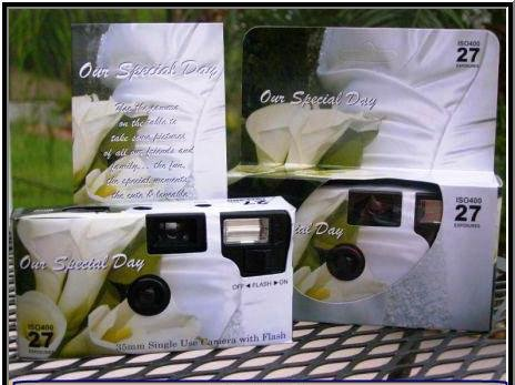 10 Pack Calla Lily Disposable Wedding Cameras in Matching Gift Boxes with Table Cards 35mm, 27 Exposures